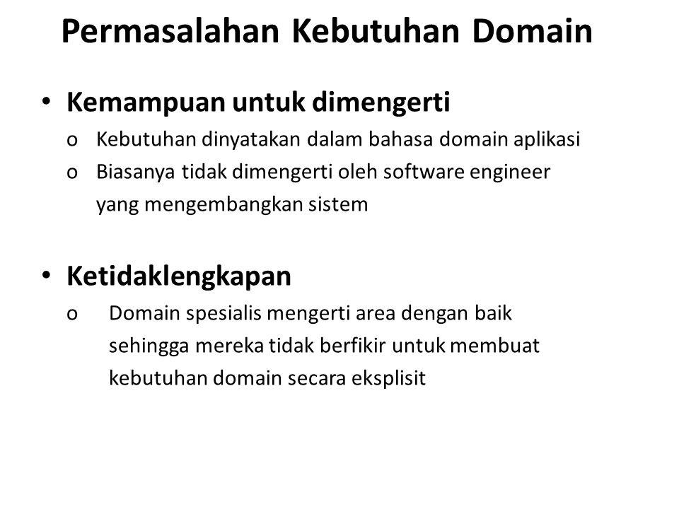 Permasalahan Kebutuhan Domain Kemampuan untuk dimengerti o Kebutuhan dinyatakan dalam bahasa domain aplikasi o Biasanya tidak dimengerti oleh software engineer yang mengembangkan sistem Ketidaklengkapan o Domain spesialis mengerti area dengan baik sehingga mereka tidak berfikir untuk membuat kebutuhan domain secara eksplisit
