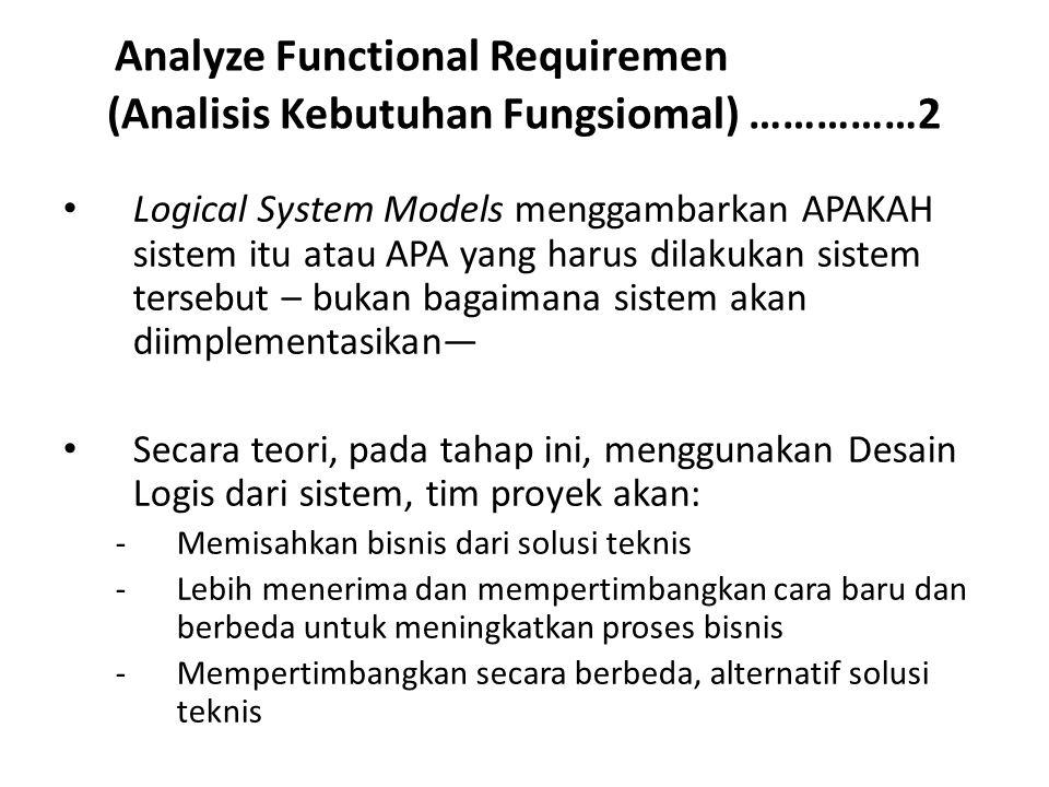 Analyze Functional Requiremen (Analisis Kebutuhan Fungsiomal) ……………2 Logical System Models menggambarkan APAKAH sistem itu atau APA yang harus dilakuk