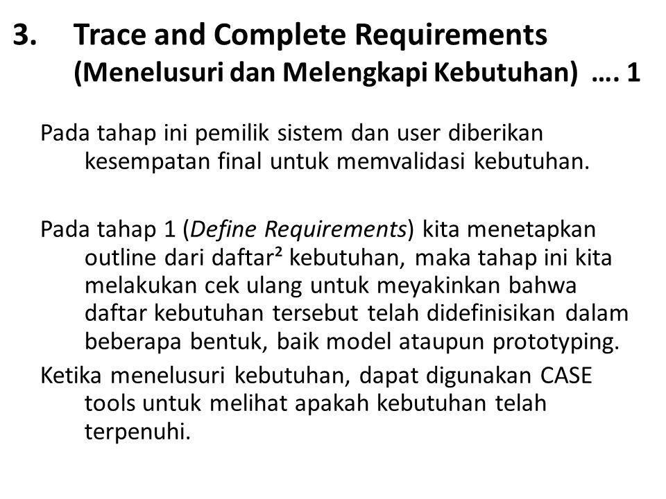3.Trace and Complete Requirements (Menelusuri dan Melengkapi Kebutuhan) …. 1 Pada tahap ini pemilik sistem dan user diberikan kesempatan final untuk m
