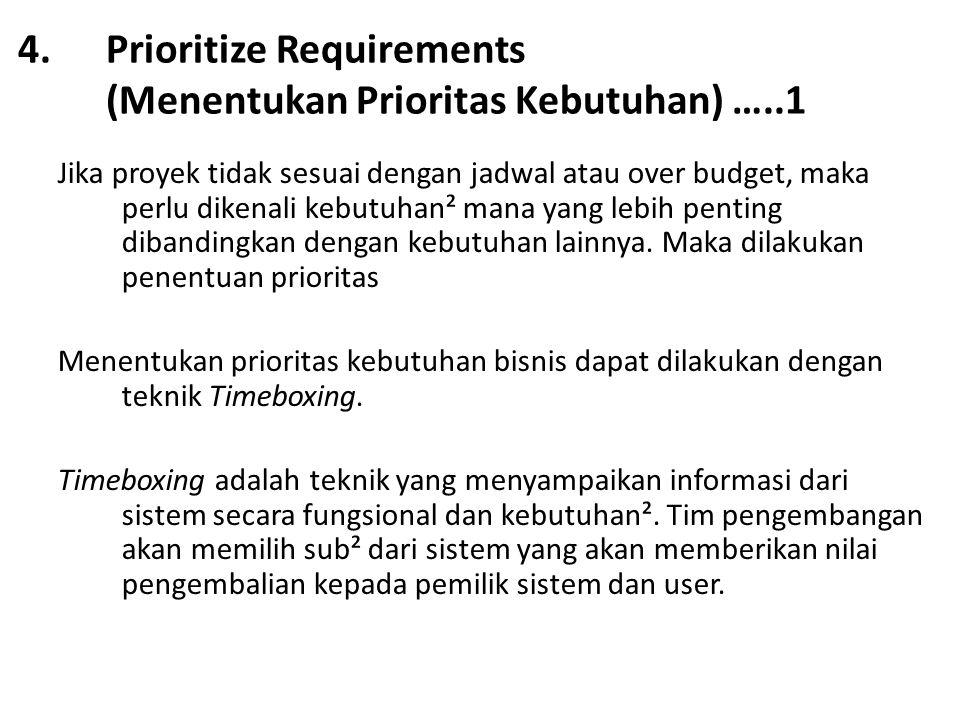 4.Prioritize Requirements (Menentukan Prioritas Kebutuhan) …..1 Jika proyek tidak sesuai dengan jadwal atau over budget, maka perlu dikenali kebutuhan² mana yang lebih penting dibandingkan dengan kebutuhan lainnya.