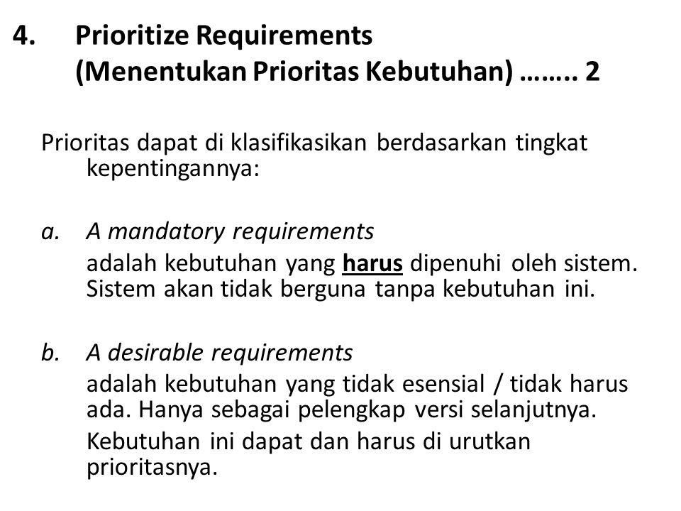 4.Prioritize Requirements (Menentukan Prioritas Kebutuhan) …….. 2 Prioritas dapat di klasifikasikan berdasarkan tingkat kepentingannya: a.A mandatory