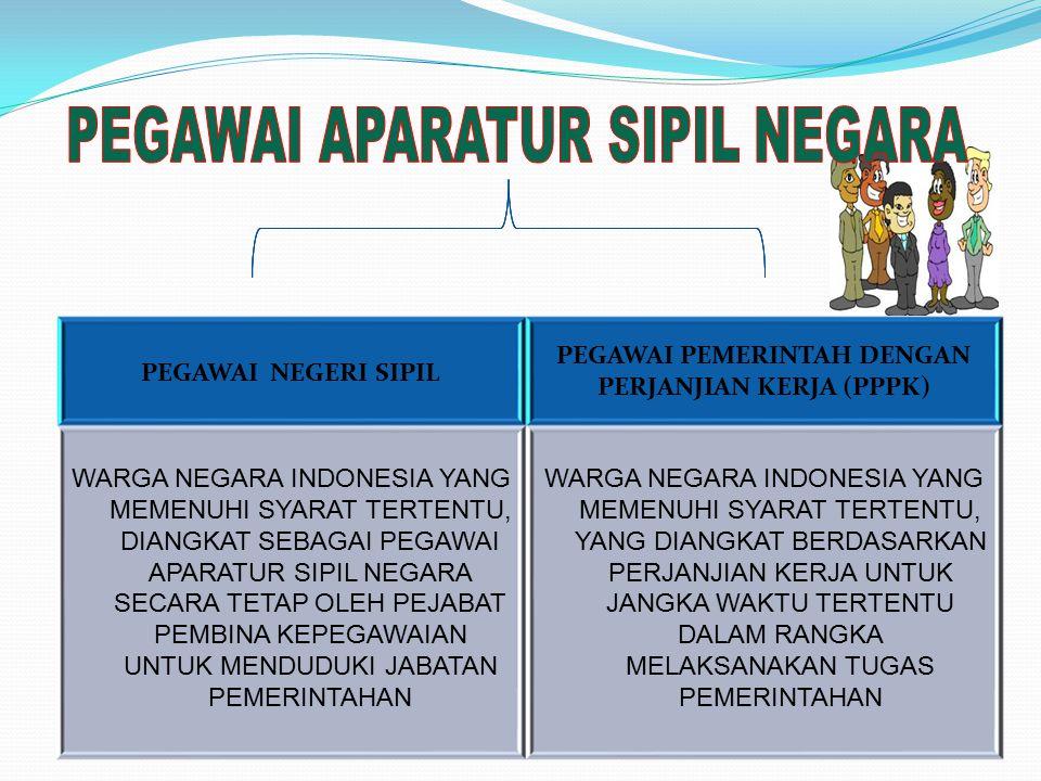 PEGAWAI NEGERI SIPIL PEGAWAI PEMERINTAH DENGAN PERJANJIAN KERJA (PPPK) WARGA NEGARA INDONESIA YANG MEMENUHI SYARAT TERTENTU, DIANGKAT SEBAGAI PEGAWAI APARATUR SIPIL NEGARA SECARA TETAP OLEH PEJABAT PEMBINA KEPEGAWAIAN UNTUK MENDUDUKI JABATAN PEMERINTAHAN WARGA NEGARA INDONESIA YANG MEMENUHI SYARAT TERTENTU, YANG DIANGKAT BERDASARKAN PERJANJIAN KERJA UNTUK JANGKA WAKTU TERTENTU DALAM RANGKA MELAKSANAKAN TUGAS PEMERINTAHAN