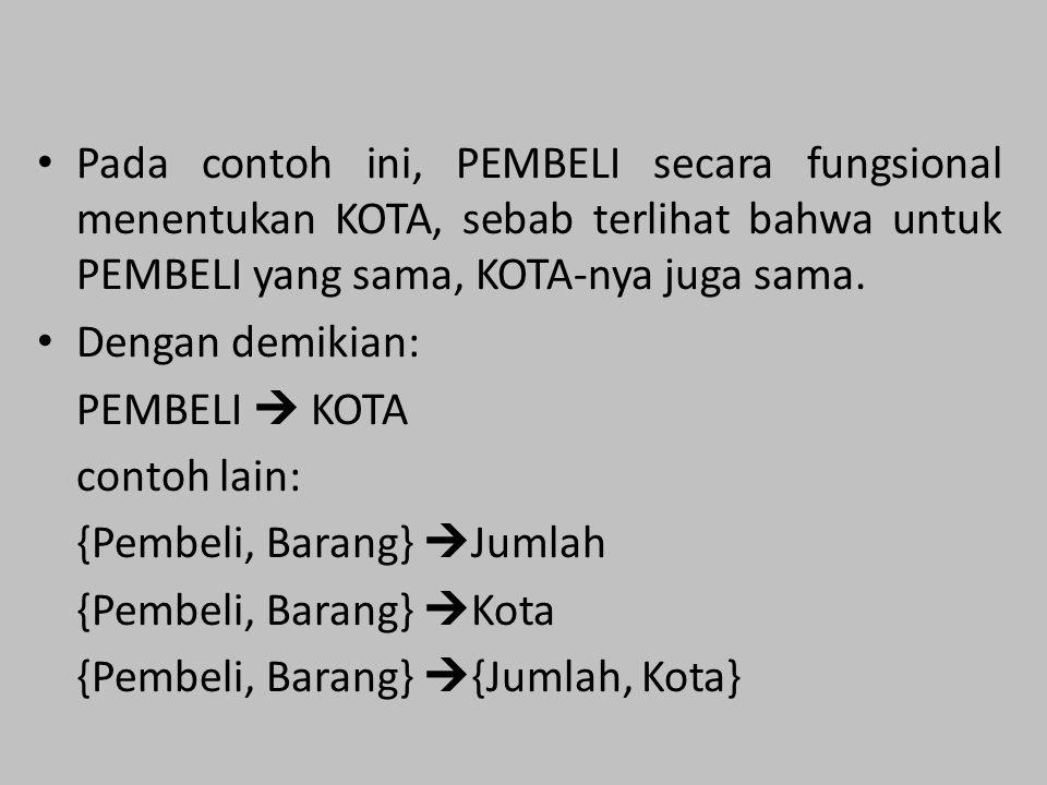 Pada contoh ini, PEMBELI secara fungsional menentukan KOTA, sebab terlihat bahwa untuk PEMBELI yang sama, KOTA-nya juga sama. Dengan demikian: PEMBELI