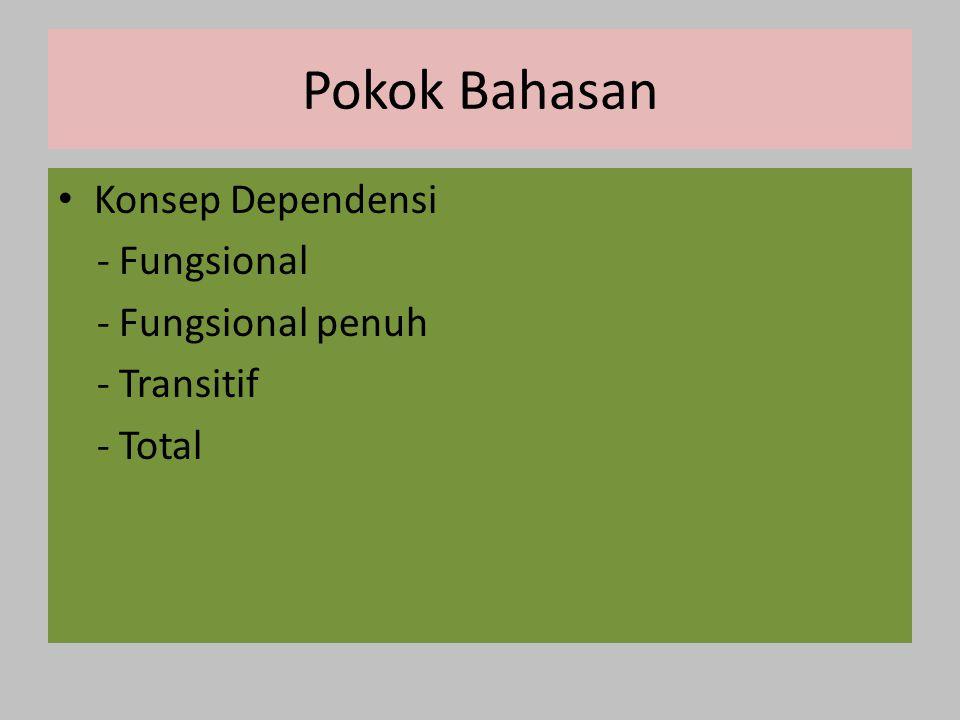 Pokok Bahasan Konsep Dependensi - Fungsional - Fungsional penuh - Transitif - Total