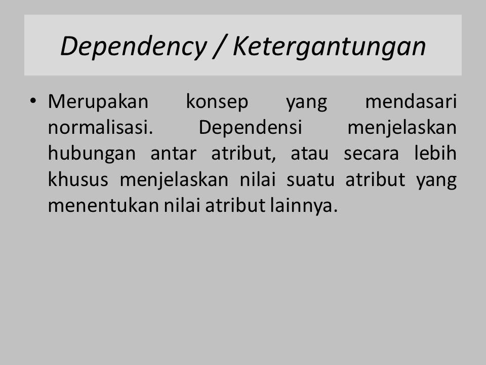 Ada beberapa jenis Dependency / Ketergantungan: 1.Ketergantungan Fungsional / Functionally Dependency (FD) 2.Ketergantungan Fungsional Penuh / Full Functionally Dependency (FFD) 3.Ketergantungan Transitif / Transitive Dependency (TDF) 4.Ketergantungan Total (Total Dependency (TD)