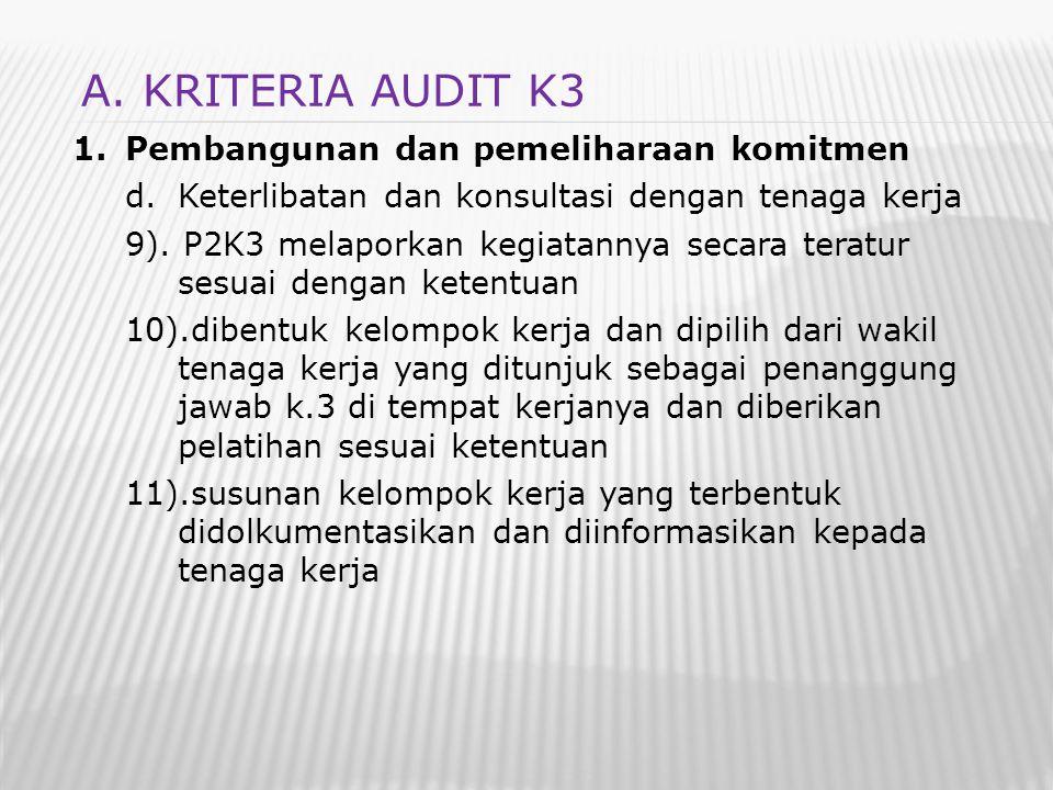 1.Pembangunan dan pemeliharaan komitmen d.Keterlibatan dan konsultasi dengan tenaga kerja 9). P2K3 melaporkan kegiatannya secara teratur sesuai dengan