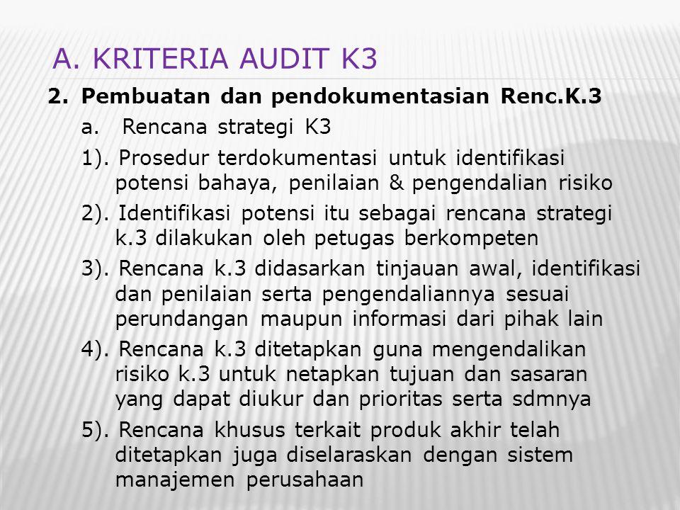 2.Pembuatan dan pendokumentasian Renc.K.3 a. Rencana strategi K3 1). Prosedur terdokumentasi untuk identifikasi potensi bahaya, penilaian & pengendali