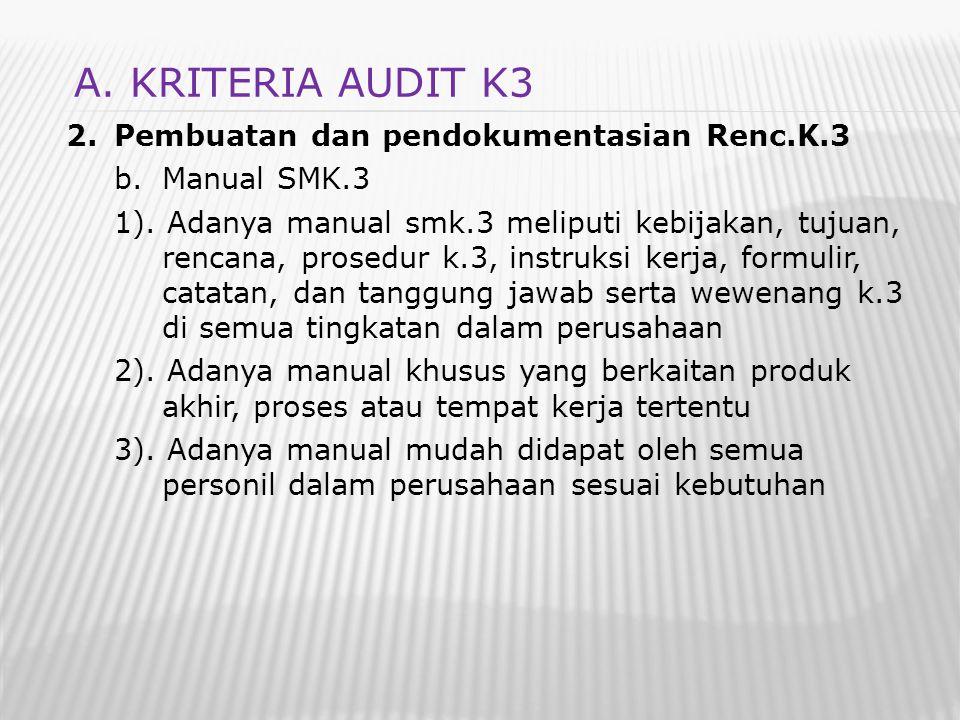 2.Pembuatan dan pendokumentasian Renc.K.3 b.Manual SMK.3 1). Adanya manual smk.3 meliputi kebijakan, tujuan, rencana, prosedur k.3, instruksi kerja, f