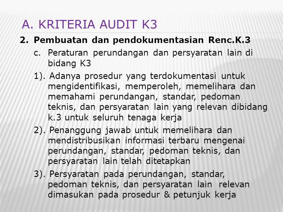 2.Pembuatan dan pendokumentasian Renc.K.3 c.Peraturan perundangan dan persyaratan lain di bidang K3 1). Adanya prosedur yang terdokumentasi untuk meng