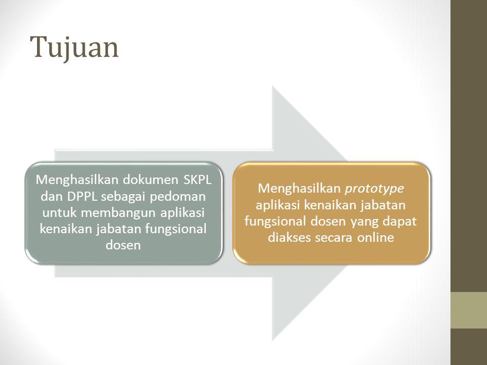 Tujuan Menghasilkan dokumen SKPL dan DPPL sebagai pedoman untuk membangun aplikasi kenaikan jabatan fungsional dosen Menghasilkan prototype aplikasi k