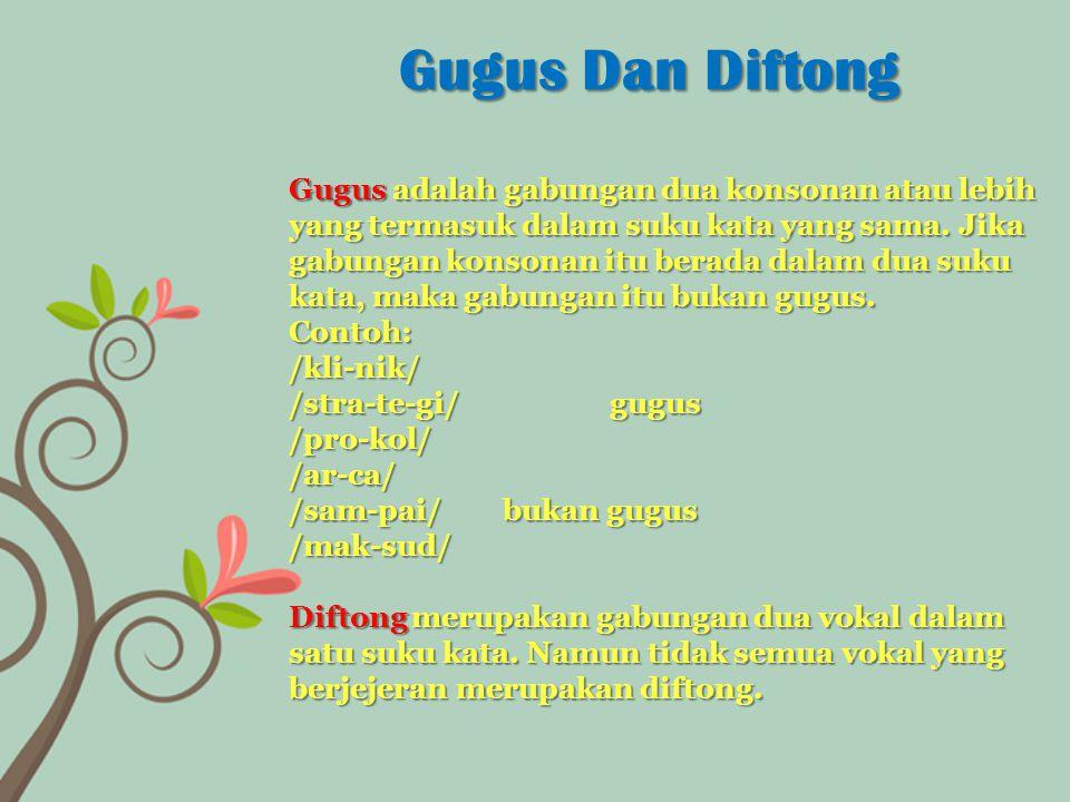 Gugus adalah gabungan dua konsonan atau lebih yang termasuk dalam suku kata yang sama. Jika gabungan konsonan itu berada dalam dua suku kata, maka gab