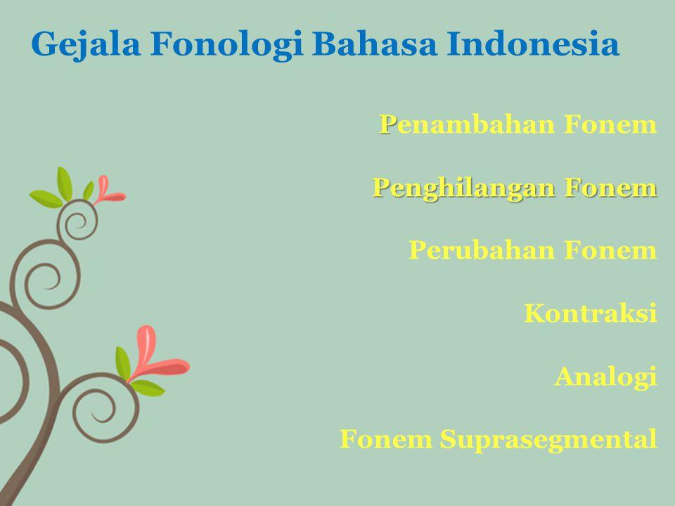 P Penghilangan Fonem Penambahan Fonem Penghilangan Fonem Perubahan Fonem Kontraksi Analogi Fonem Suprasegmental Gejala Fonologi Bahasa Indonesia