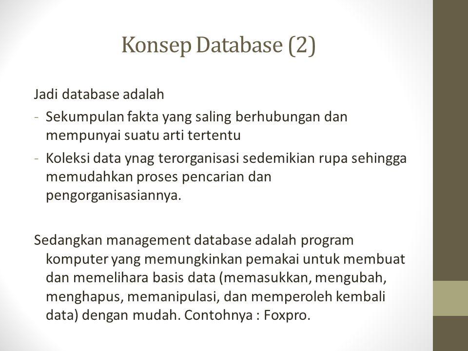 Konsep Database (3) Secara garis besar pembuatan aplikasi database meliputi proses-proses sebagai berikut : 1.Merencanakan atau merancang aplikasi 2.Membuat database (tabel, view, relasi tabel) 3.Membuat kelas (event, properti, method) 4.Menyediakan akses informasi (form, menu, toolbar) 5.Menyediakan akses informasi (query, report, grafik) 6.Testing dan debugging