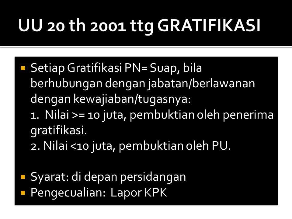  Setiap Gratifikasi PN= Suap, bila berhubungan dengan jabatan/berlawanan dengan kewajiaban/tugasnya: 1. Nilai >= 10 juta, pembuktian oleh penerima gr