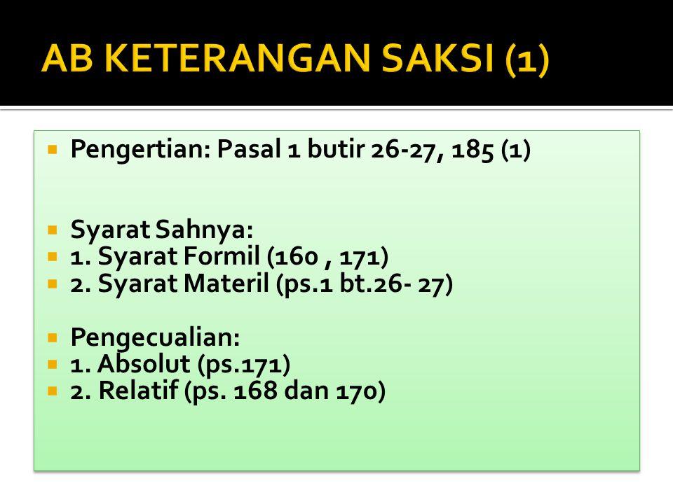  Pengertian: Pasal 1 butir 26-27, 185 (1)  Syarat Sahnya:  1. Syarat Formil (160, 171)  2. Syarat Materil (ps.1 bt.26- 27)  Pengecualian:  1. Ab