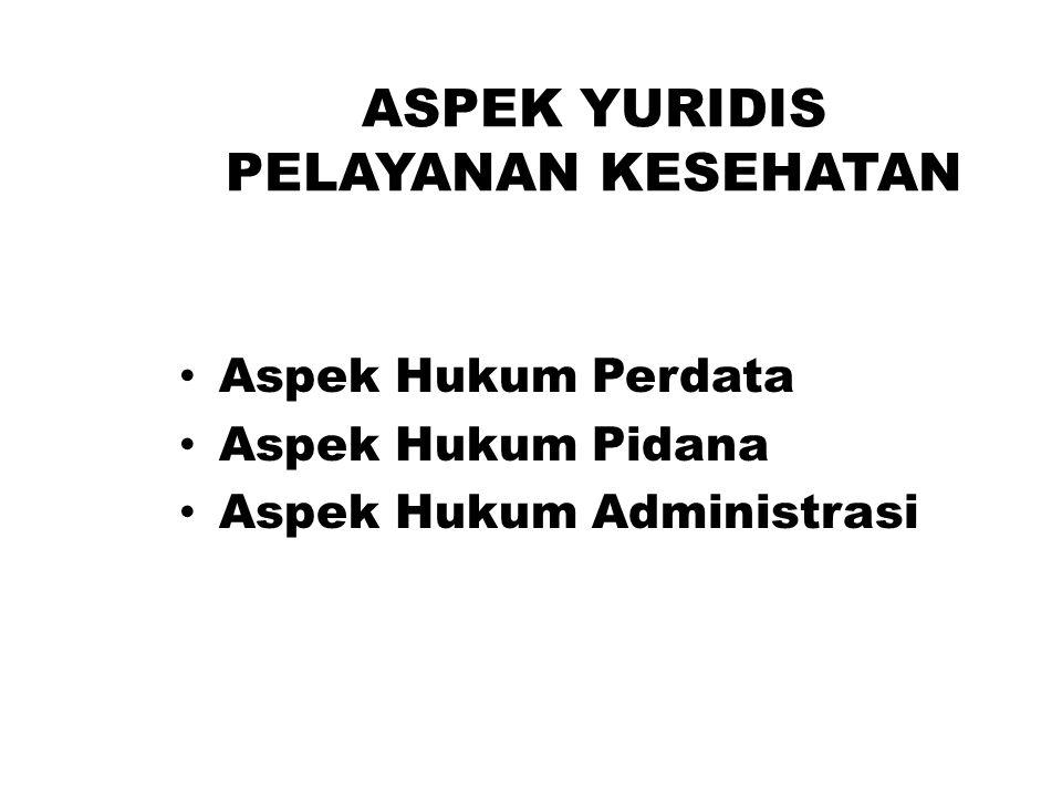 ASPEK YURIDIS PELAYANAN KESEHATAN Aspek Hukum Perdata Aspek Hukum Pidana Aspek Hukum Administrasi