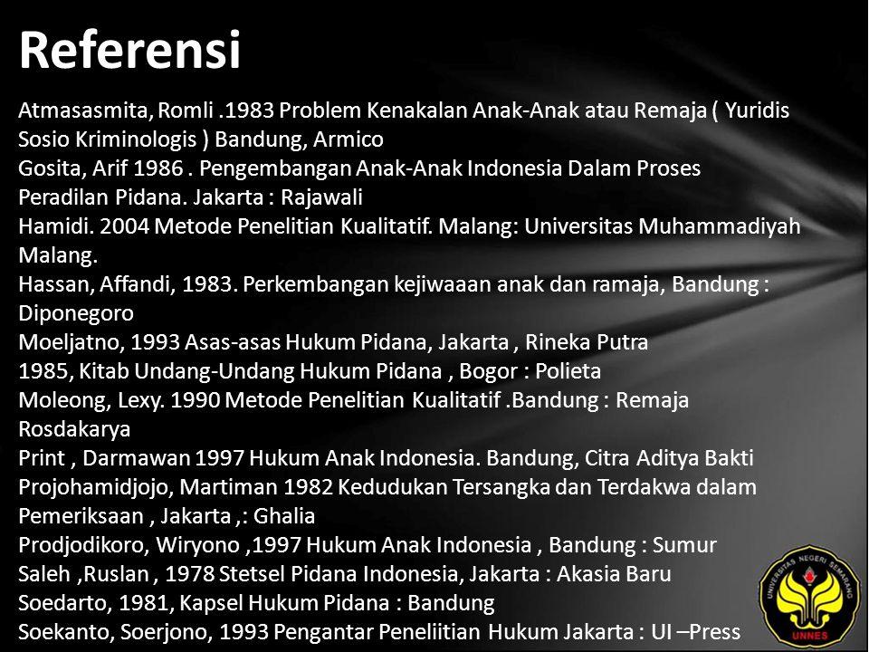 Referensi Atmasasmita, Romli.1983 Problem Kenakalan Anak-Anak atau Remaja ( Yuridis Sosio Kriminologis ) Bandung, Armico Gosita, Arif 1986. Pengembang
