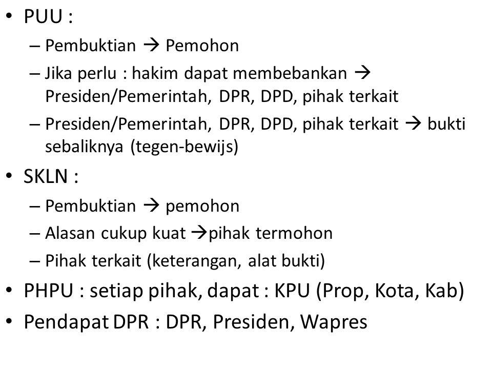 PUU : – Pembuktian  Pemohon – Jika perlu : hakim dapat membebankan  Presiden/Pemerintah, DPR, DPD, pihak terkait – Presiden/Pemerintah, DPR, DPD, pi