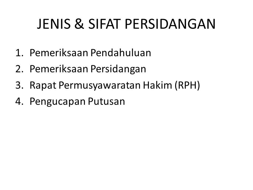 JENIS & SIFAT PERSIDANGAN 1.Pemeriksaan Pendahuluan 2.Pemeriksaan Persidangan 3.Rapat Permusyawaratan Hakim (RPH) 4.Pengucapan Putusan