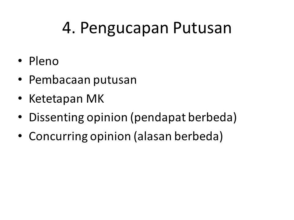 4. Pengucapan Putusan Pleno Pembacaan putusan Ketetapan MK Dissenting opinion (pendapat berbeda) Concurring opinion (alasan berbeda)