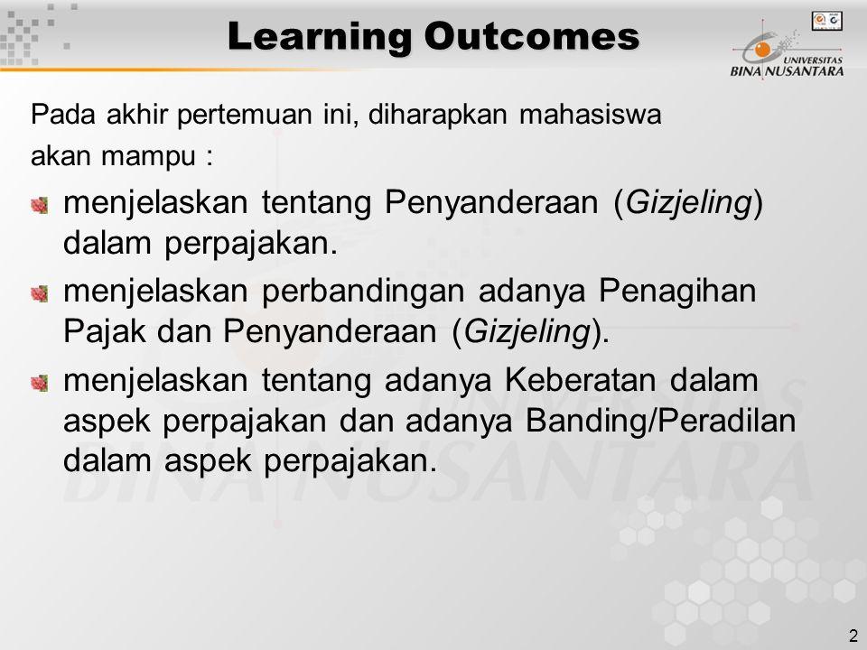 2 Learning Outcomes Pada akhir pertemuan ini, diharapkan mahasiswa akan mampu : menjelaskan tentang Penyanderaan (Gizjeling) dalam perpajakan. menjela