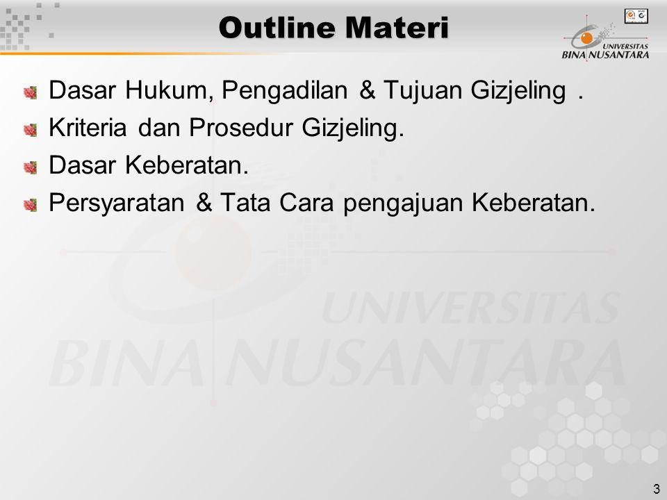 3 Outline Materi Dasar Hukum, Pengadilan & Tujuan Gizjeling. Kriteria dan Prosedur Gizjeling. Dasar Keberatan. Persyaratan & Tata Cara pengajuan Keber
