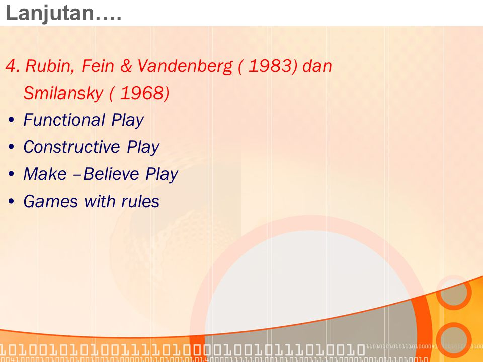 Lanjutan…. 4. Rubin, Fein & Vandenberg ( 1983) dan Smilansky ( 1968) Functional Play Constructive Play Make –Believe Play Games with rules