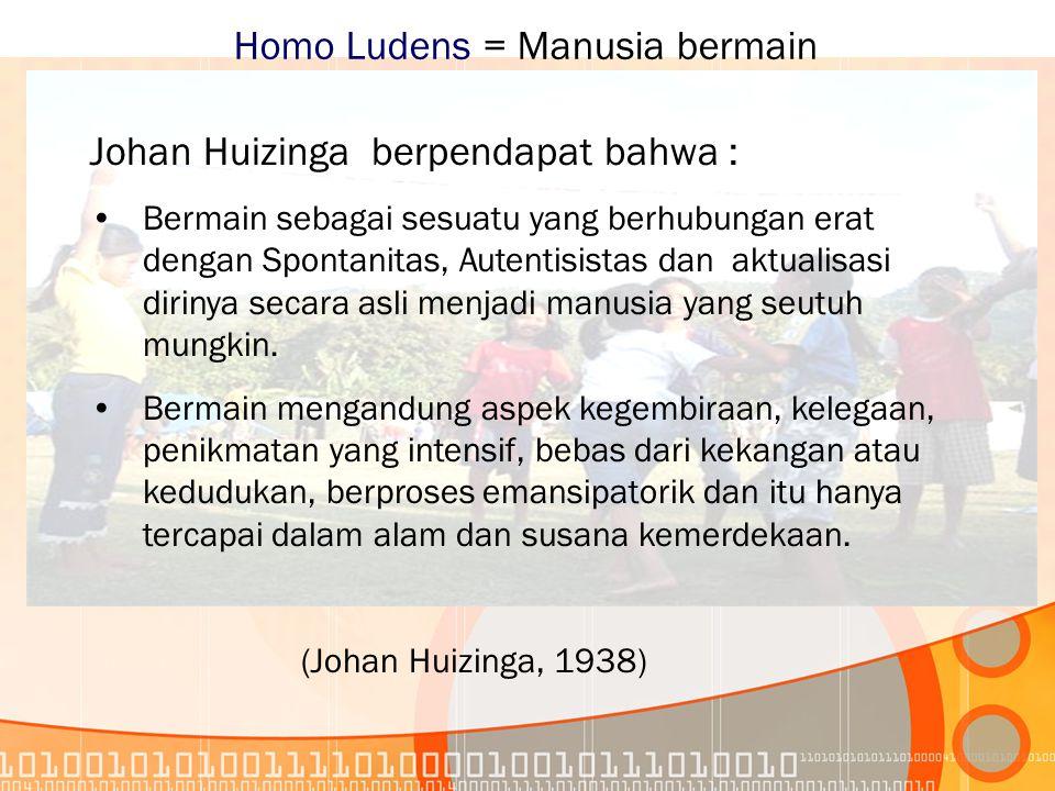 Homo Ludens = Manusia bermain Johan Huizinga berpendapat bahwa : Bermain sebagai sesuatu yang berhubungan erat dengan Spontanitas, Autentisistas dan aktualisasi dirinya secara asli menjadi manusia yang seutuh mungkin.