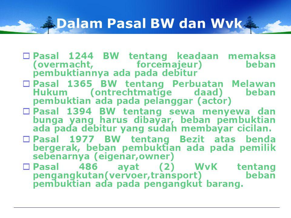 Dalam Pasal BW dan Wvk  Pasal 1244 BW tentang keadaan memaksa (overmacht, forcemajeur) beban pembuktiannya ada pada debitur  Pasal 1365 BW tentang Perbuatan Melawan Hukum (ontrechtmatige daad) beban pembuktian ada pada pelanggar (actor)  Pasal 1394 BW tentang sewa menyewa dan bunga yang harus dibayar, beban pembuktian ada pada debitur yang sudah membayar cicilan.