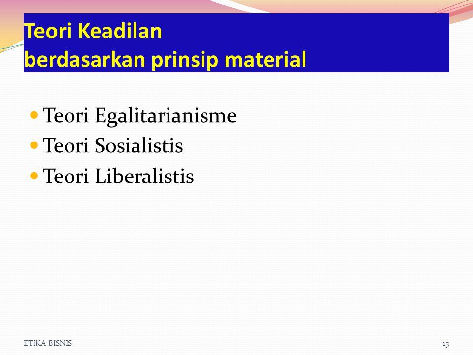 ETIKA BISNIS15 Teori Keadilan berdasarkan prinsip material Teori Egalitarianisme Teori Sosialistis Teori Liberalistis