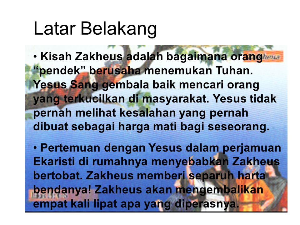 Zakheus, kepala pemungut cukai Sejak mulanya ia sudah kaya, sebab memiliki modal besar, sehingga diangkat sebagai kepala pemungut cukai.
