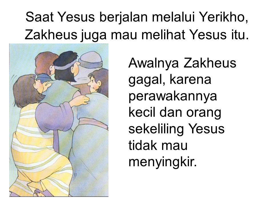 Saat Yesus berjalan melalui Yerikho, Zakheus juga mau melihat Yesus itu. Awalnya Zakheus gagal, karena perawakannya kecil dan orang sekeliling Yesus t