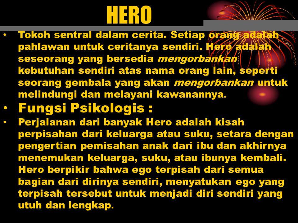 HERO Tokoh sentral dalam cerita. Setiap orang adalah pahlawan untuk ceritanya sendiri. Hero adalah seseorang yang bersedia mengorbankan kebutuhan send