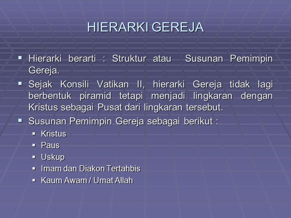 HIERARKI GEREJA HHHHierarki berarti : Struktur atau Susunan Pemimpin Gereja.