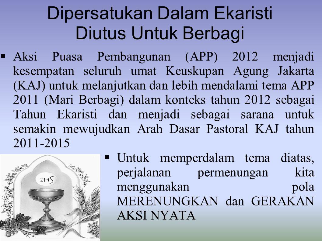 Dipersatukan Dalam Ekaristi Diutus Untuk Berbagi  Aksi Puasa Pembangunan (APP) 2012 menjadi kesempatan seluruh umat Keuskupan Agung Jakarta (KAJ) unt