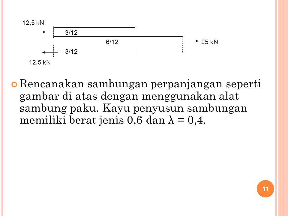 Rencanakan sambungan perpanjangan seperti gambar di atas dengan menggunakan alat sambung paku. Kayu penyusun sambungan memiliki berat jenis 0,6 dan λ