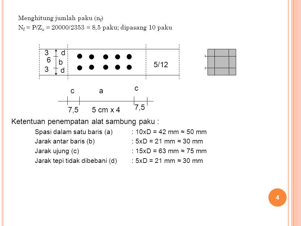 Menghitung jumlah paku (n f ) N f = P/Z u = 20000/2353 = 8,5 paku; dipasang 10 paku 4 5/12 c 7,5 5 cm x 47,5 ca d b d 3 6 3 Ketentuan penempatan alat