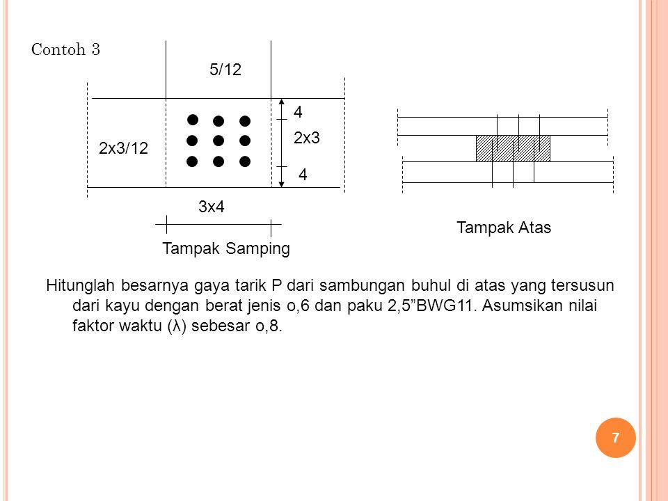 Contoh 3 7 5/12 2x3/12 4 2x3 4 3x4 Tampak Samping Tampak Atas Hitunglah besarnya gaya tarik P dari sambungan buhul di atas yang tersusun dari kayu den