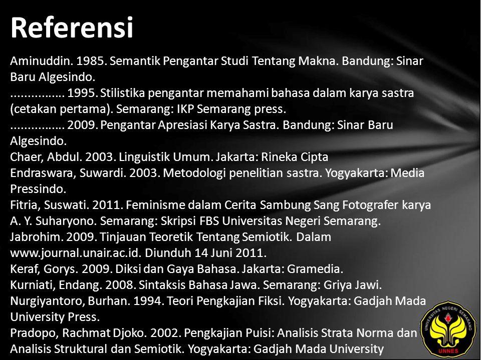 Referensi Aminuddin. 1985. Semantik Pengantar Studi Tentang Makna.