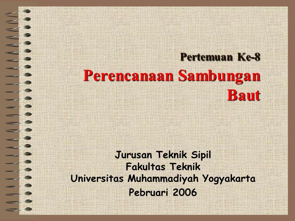 Pertemuan Ke-8 Perencanaan Sambungan Baut Jurusan Teknik Sipil Fakultas Teknik Universitas Muhammadiyah Yogyakarta Pebruari 2006