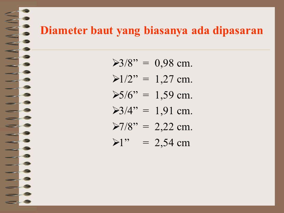 Diameter baut yang biasanya ada dipasaran  3/8 = 0,98 cm.