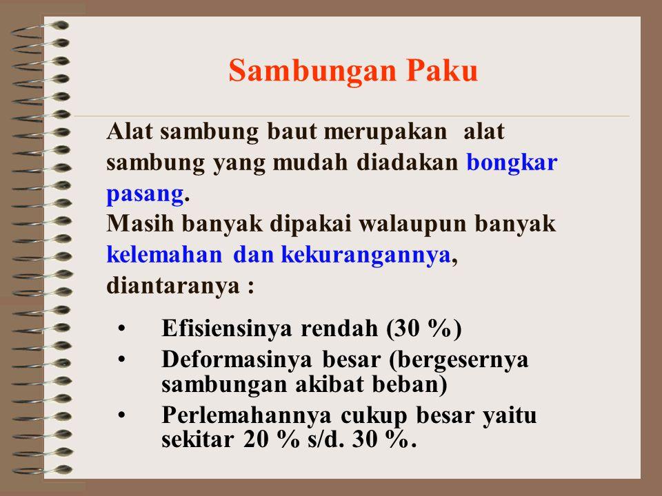 Persyaratan sambungan menurut PKKI Pasal 14 Ayat : 1.Alat sambung baut harus dibuat dari baja St- 37 (U-23).