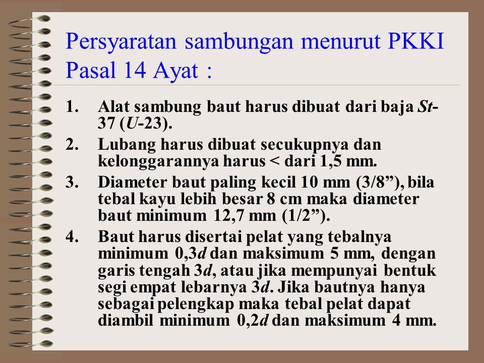 Persyaratan sambungan menurut PKKI Pasal 14 Ayat : Gambar 4.8.