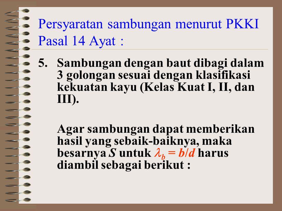 Persyaratan sambungan menurut PKKI Pasal 14 Ayat : 5.Sambungan dengan baut dibagi dalam 3 golongan sesuai dengan klasifikasi kekuatan kayu (Kelas Kuat I, II, dan III).