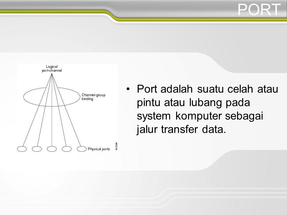 PORT Port adalah suatu celah atau pintu atau lubang pada system komputer sebagai jalur transfer data.