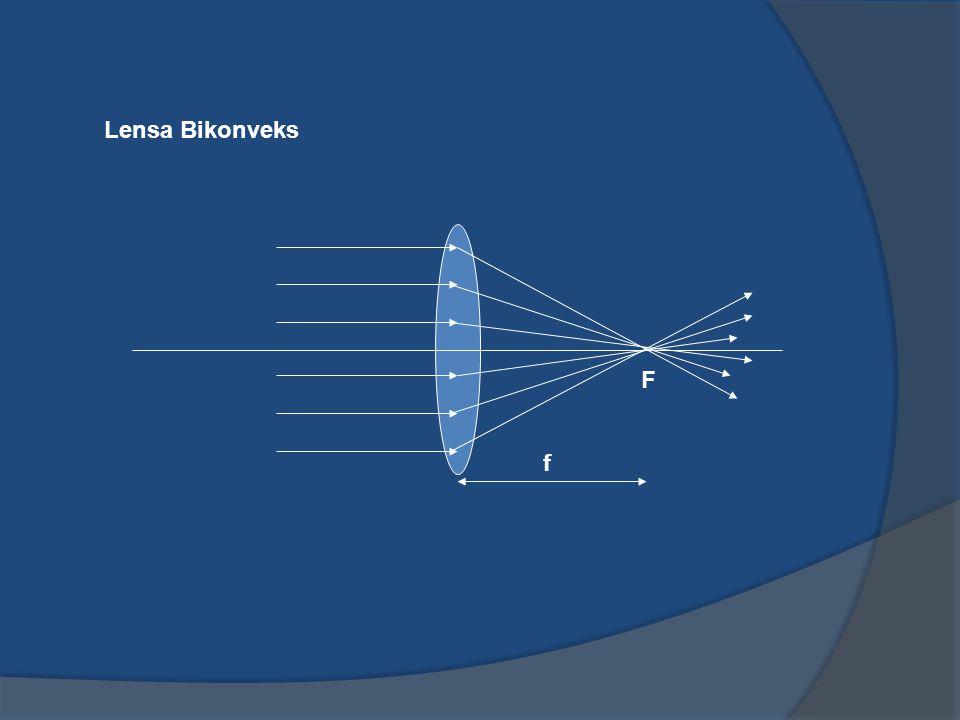 PEMBENTUKAN BAYANGAN OLEH LENSA TIPIS Prinsipnya seperti sama seperti pembentukan bayangan pada peristiwa pemantulan cahaya, menggunakan aturan-aturan sinar istimewa : Sinar istimewa untuk lensa tipis konvergen (lensa positif); Sinar datang sejajar sumbu utama akan dibiaskan melalui titik fokus (F).