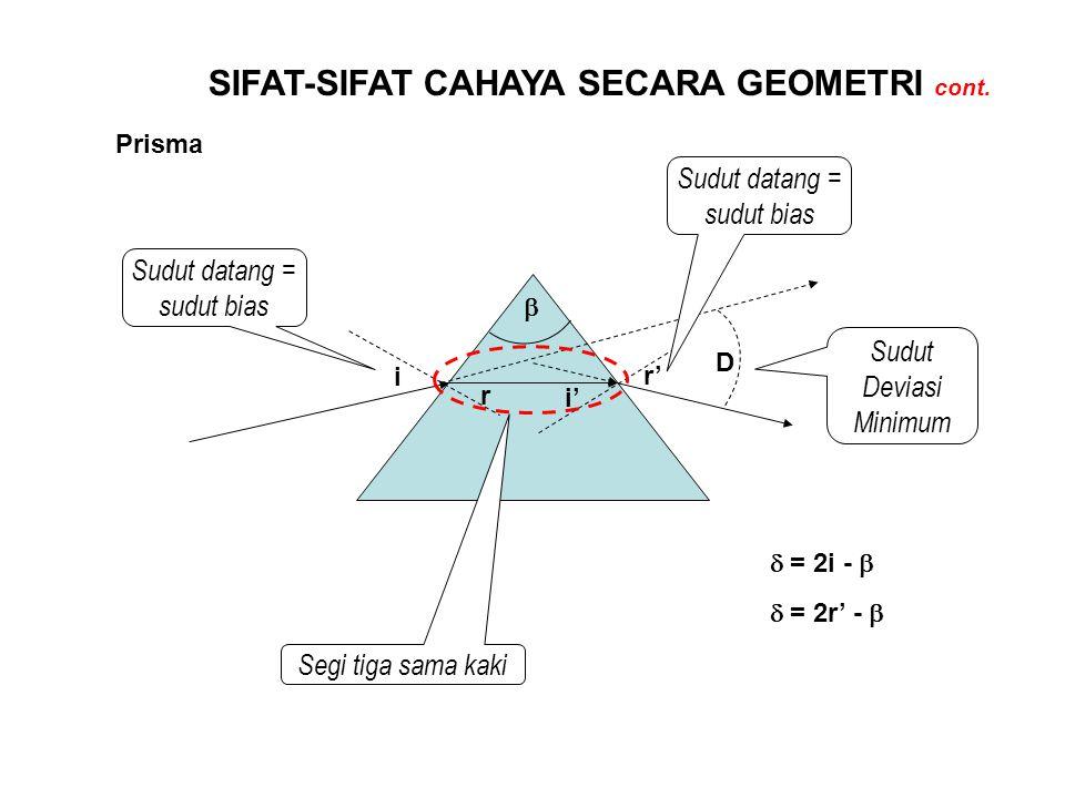 SIFAT-SIFAT CAHAYA SECARA GEOMETRI cont. Prisma Sudut Deviasi Minimum i r i' r' D   = 2i -  Sudut datang = sudut bias  = 2r' -  Segi tiga sama ka