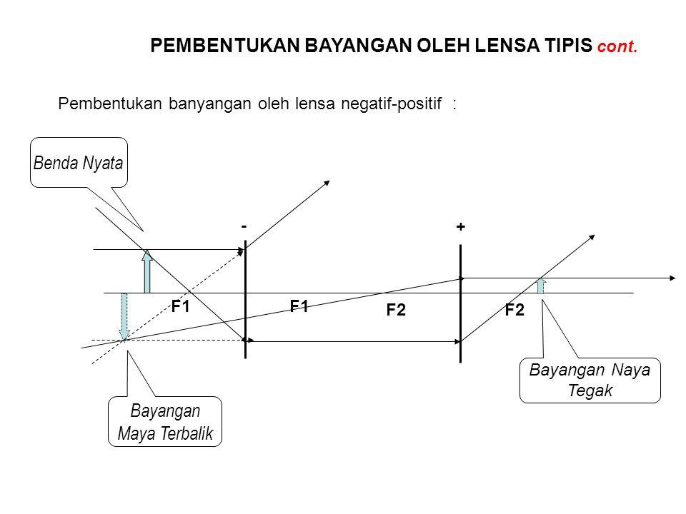 PEMBENTUKAN BAYANGAN OLEH LENSA TIPIS cont. Pembentukan banyangan oleh lensa negatif-positif : - + F1 F2 Benda Nyata Bayangan Maya Terbalik Bayangan N