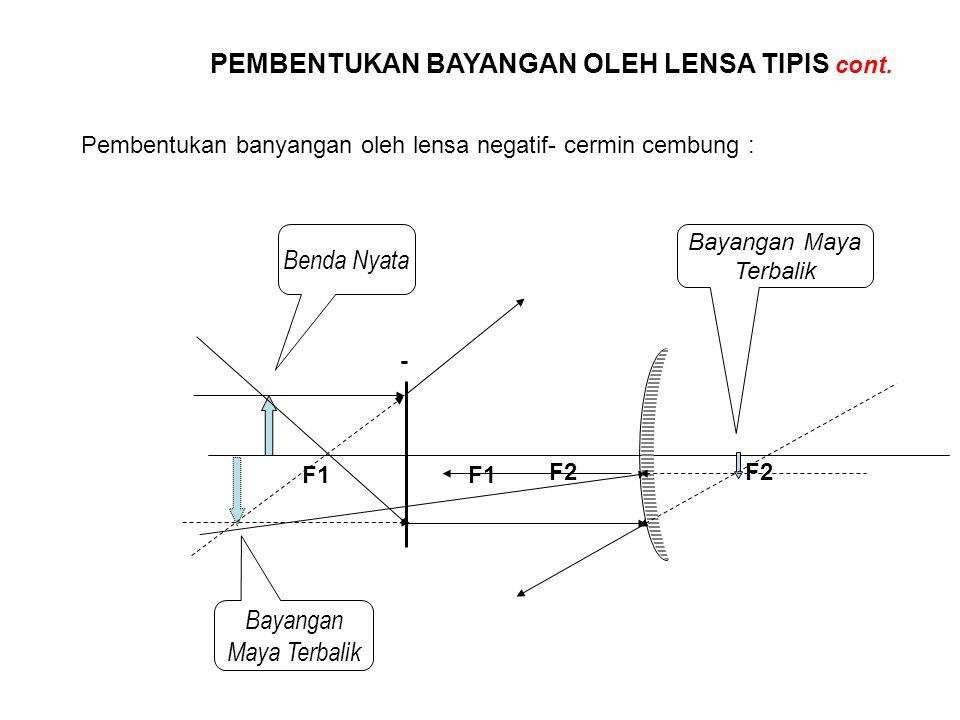 PEMBENTUKAN BAYANGAN OLEH LENSA TIPIS cont. Pembentukan banyangan oleh lensa negatif- cermin cembung : - F1 Benda Nyata Bayangan Maya Terbalik F2