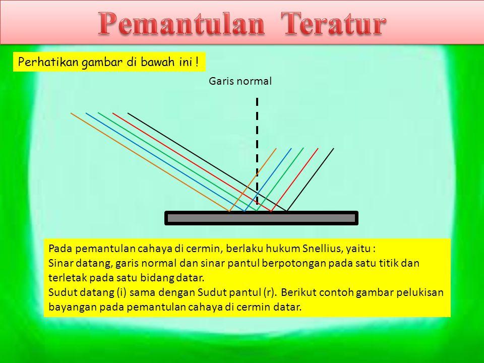 Garis normal Pada pemantulan cahaya di cermin, berlaku hukum Snellius, yaitu : Sinar datang, garis normal dan sinar pantul berpotongan pada satu titik
